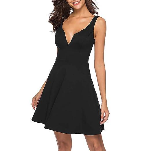 519fa665c246 kemilove Womens Summer Dress Casual Short Sleeve Deep V-Neck Mini Swing Dresses  Black
