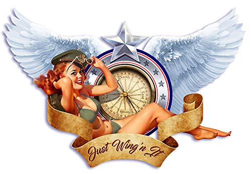 DaVinci Wrap Masters 'Just Winging It!' Personalized Vinyl Classic Bomber Pin-Up Nose Art Decal
