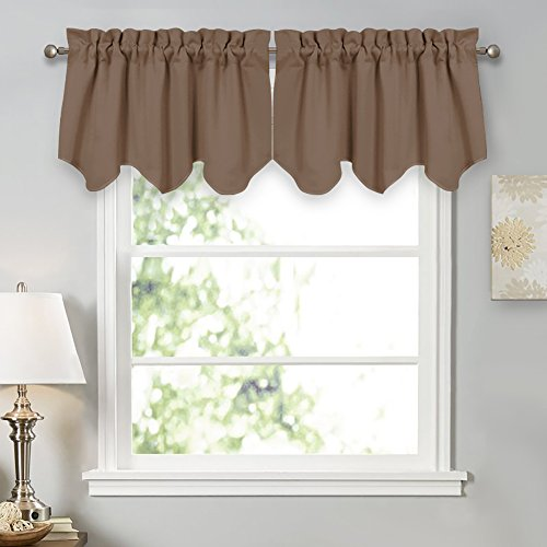 PONY DANCE Scalloped Valances Blackout - Window Covering Short Valance Tiers Home Decorative Light Block Curtain Shade for Kitchen, 42 Wide by 18 inch Long, Mocha, 2 Pieces (Covering Kitchen Window)