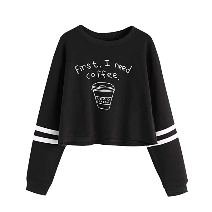 Mujer Sudaderas Cortas,Fossen Letra First i Need a Coffee Manga Larga Camiseta