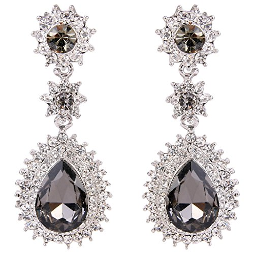 EleQueen Women's Austrian Crystal Dazzling Flower Tear Drop Wedding Dangle Earrings Silver-tone Grey (Box Austrian Crystal)