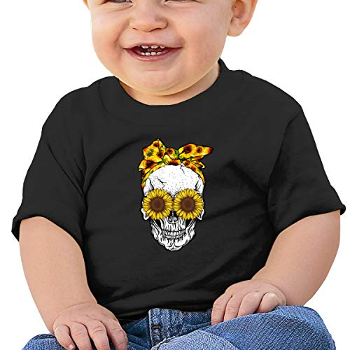 FOECBIR Suger Skull Sunflower Infan Short Sleeve Shirts Girl Birthday Gift Black
