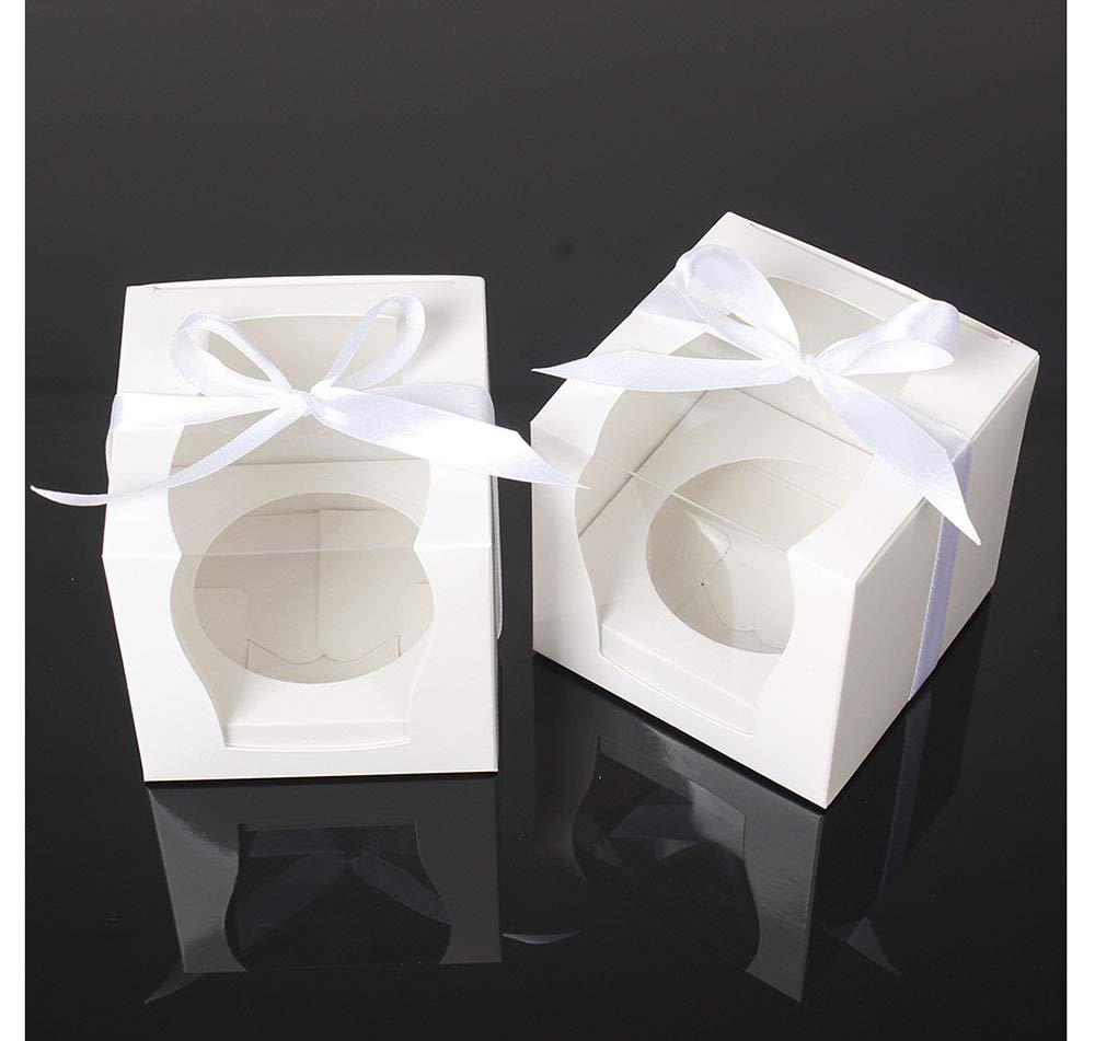 ZEALAX White Single Cupcake Boxes Wedding Favor Paper Box Clear Window Cupcake Gift Box with Inserts and Ribbon, 12 Count, 3.5'' x 3.5'' x 3.5''