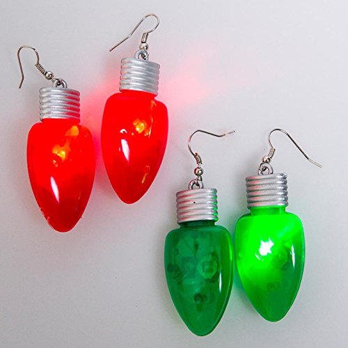 Flashing holiday bulb earrings 2 pairs (1 green pair 1 red