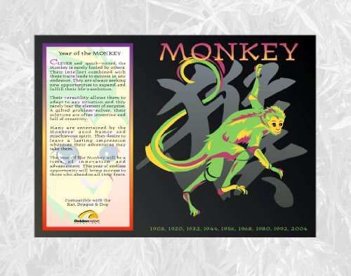 Goldenwave Creations Asian Oriental Chinese Zodiac Poster Year the Monkey: 1932, 44, 56, 68, 80, 92, 04, 2016
