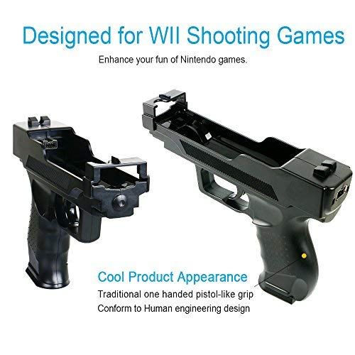 Wii Motion Plus Gun for Nintendo Wii Controller + Wii Shooting Games (Black,Set of 2)