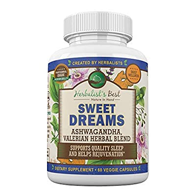 Sweet Dreams by Herbalist's Best | Natural Sleep Aid Herbal Supplement with Valerian Root Ashwagandha Lemon Balm Passion Flower & More | Non Habit Forming | Adrenal Support |Stress Relief Zen & Calm