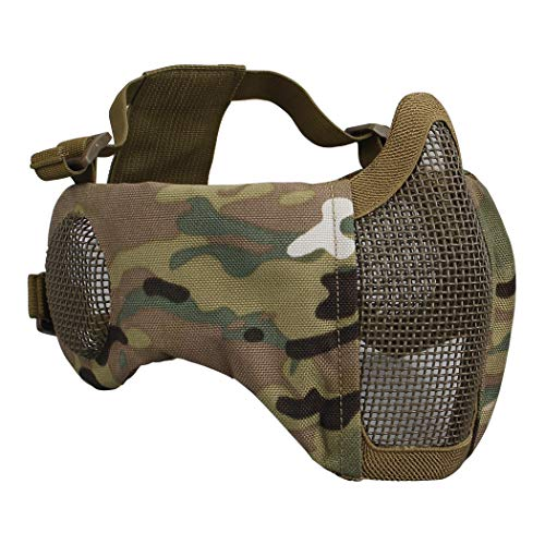 IDOGEAR Airsoft Masks, Adjustable Airsoft Half Face Mask Steel Mesh with Ear Protection, Military Style Tactical Lower Face Mask for Hunting, Paintball, Shooting (Multicam) (Face Paint Multicam)