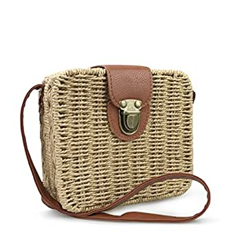 Hoxis Retro Straw Portable Small Box Woven Womens Cross Body Bag Shoulder Messenger Satchel (Brown)