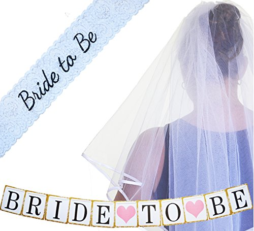 [Bachelorette Party Decorations Supplies – SASH ~ VEIL BANNER Kit – White Lace Embroidered Bride to Be Sash – Classy Wedding VEIL + Comb ~ Bridal Party Games Shower Favors + Bachorlette Night] (Blue Drinking Hat)