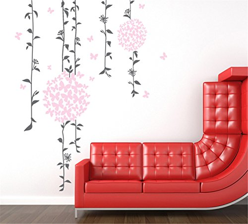 [Yanqiao Vines Round Flower Removable Vintage Wall Decal for Home Wall Wardrobe Decor] (Animals That Start With The Letter M)