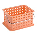 InterDesign Storage Organizer Basket, for Bathroom, Health and Beauty Products - Small, Coral