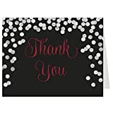 Thank You Cards, Confetti, Red, Black, Silver, Bridal Shower, Wedding, Winter, Glitter, Sparkle, Bling, Set of 50 Folding Notes with Envelopes, Brunch and Bubbly
