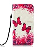 LG Stylo 4 Case, LG Stylo 4 Flip Case, JanCalm [Kickstand] [Card/Cash Slots] [Wrist Strap] [3D Painted] Pattern PU Leather Fold Flip Pouch Cover for LG Stylo 4 + Crystal Pen (Rose Butterfly)