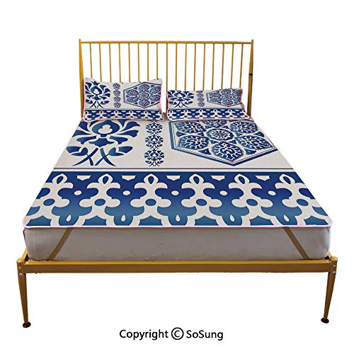 (Blue and White Creative Full Size Summer Cool Mat,Antique Arabesque Art Elements Classic Floral Curves Baroque Revival Motifs Decorative Sleeping & Play Cool Mat,Blue White)