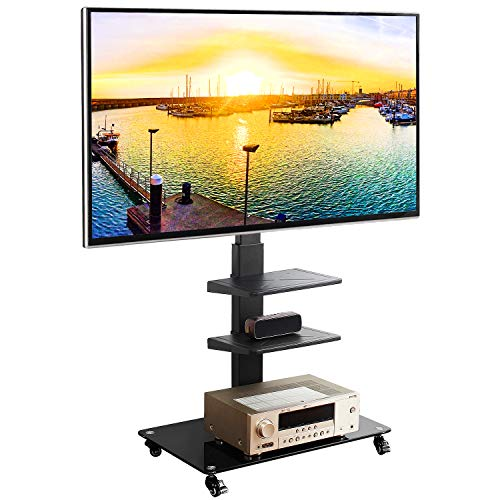 Rfiver Universal Mobile TV Stand Trolley Cart with Swivel Mount for Most 32″-65″ LCD LED Plasma Flat/Curved Screen TVs, Height Adjustable and Locking Wheels, Black Heavy Duty TV Mount Stand TF5002