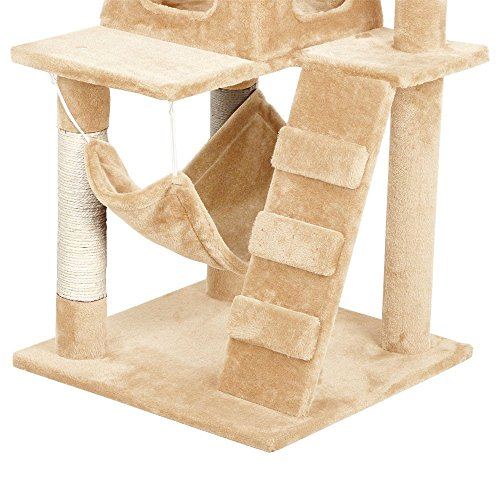 52'' Cat Tree Kitten Scratching Post Tower Condo House Tunnel Playground (Beige) by PETTRO