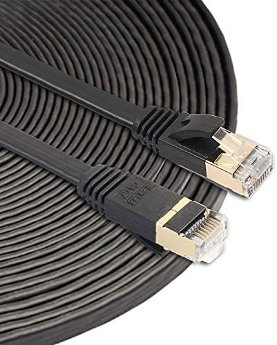Color : Black Black Built with Shielded RJ45 Connectors Leya LAN Cable and Tools 15m CAT7 10 Gigabit Ethernet Ultra Flat Patch Cable for Modem Router LAN Network