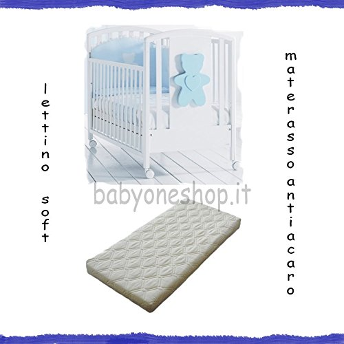 Kinderbett aus Holz massiv Soft Bär + Matratze abziehbar milbendicht hellblau