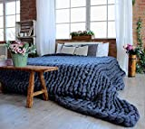 clootess Chunky Knit Blanket Merino Wool Hand Made Throw Boho Bedroom Home Decor Giant Yarn (Navy 32