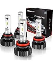 SEALIGHT 9005/HB3 High beam H11/H9 Low Beam LED Headlight Bulbs Combo Package CSP Chips 6000LM 6000K (4 Pack, 2 Sets)