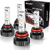SEALIGHT 9005/HB3 High Beam H11/H9 Low Beam LED Headlight Bulbs Combo Package CSP Chips 6000K