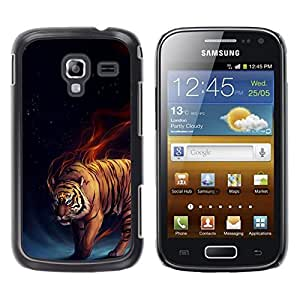 Be Good Phone Accessory // Dura Cáscara cubierta Protectora Caso Carcasa Funda de Protección para Samsung Galaxy Ace 2 I8160 Ace II X S7560M // Tiger Fire Fiery Blue Darkness Black A
