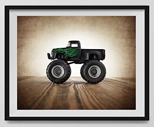 - Vintage Monster Truck Photo Black Ford with Green Flames, Boys room Wall art, Photo Decor, Monster truck room, Nursery decor, Kids Room Wall Art.