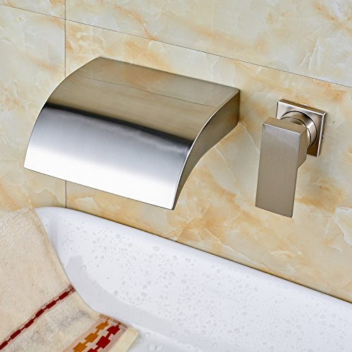 Rozin Brushed Nickel Waterfall Spout Single Handle Tub Faucet Wall Mounted Two Holes Mixer - Nickel Spout Wall