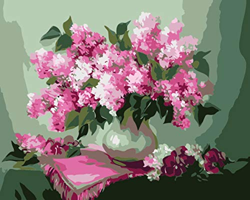 Paint by Number Kits - Pink Hyacinth 16x20 inch Linen Canvas Paintworks - Digital Oil Painting Canvas Kits for Adults Children Kids Decorations Gifts (No Frame)