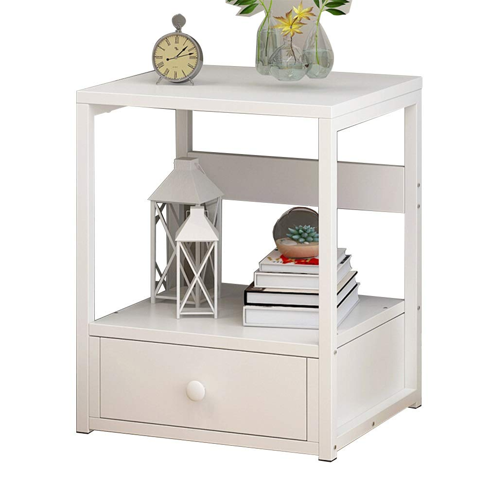 A YD Bedside - Drawer Locker Cabinet White with Drawers Storage Unit Wooden Nightstand Wood-Based Panel (Size   A)
