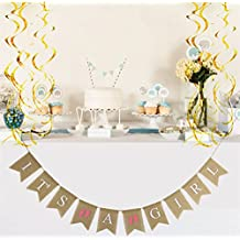 It's a Girl Burlap Banner + 6pcs Hanging Swirl Decoration, Magnolora Vintage Style Bunting Banner Rustic Christening Baby Shower Birthday Party Decoration Photo Props - 10pcs Swallowtail Shaped Banners