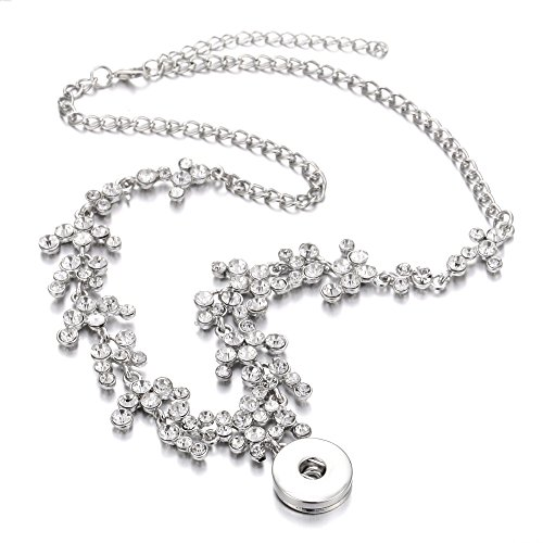 Lovglisten New Rhinestone Snap Button Necklace Full Crystal 18mm Snap Pendant Necklaces Jewelry for Women Girls
