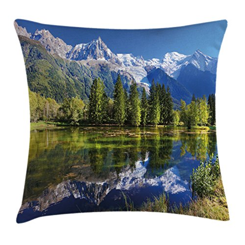 Outdoor Throw Pillow Cushion Cover by Ambesonne, Snowy Mountains Evergreen Spruce Reflected in Lake City Park Chamonix France, Decorative Square Accent Pillow Case, 18 X 18 Inches, Blue Green White