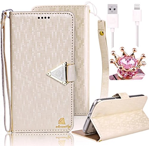Vandot Apple iPhone 6s/6 Plus 5.5 inch Case,3 in 1 Set Premium Bling Diamond Book Style PU Leather [Perfect Fit] Magnetic Closure Flip Stand Wallet Case Cover With Removable Wrist Strap-Color White