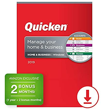 Quicken Home & Business 2019 Personal Finance Software 1-Year + 2 Bonus Months [Amazon Exclusive] [PC Online Code]