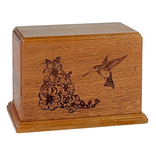Wood Cremation Urn - Mahogany Hummingbird