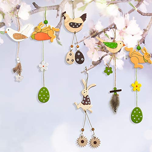 Wooden Hanging Ornaments Wood Easter Ornaments Easter Egg Bunny Chick Bird Tulip Painted Wood Cutouts Hanging Easter Rabbit Tree Decorations Decorative Colorful Springtime Crafts Hang Tags Pendant
