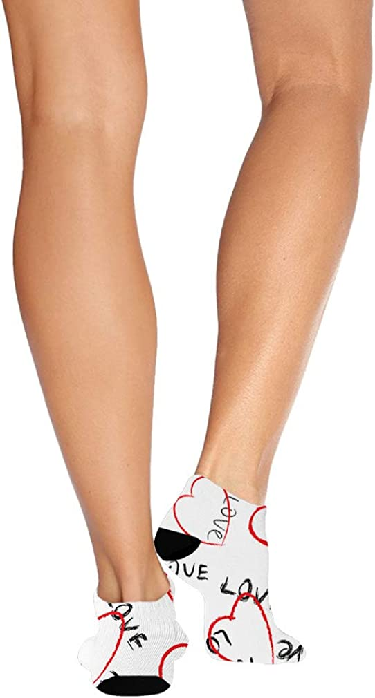 Love Hand Writing Hearts Pattern Men-Women Adult Ankle Socks Novelty Socks