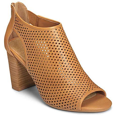 Aerosoles Women's HIGH Frequency Sandal, Dark tan Leather, 9 M US