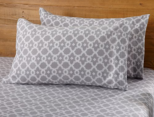 Dara Collection Super Soft Extra Plush Polar Fleece Sheet Set. Cozy, Warm, Durable, Smooth, Breathable Winter Sheets with Printed Pattern. By Home Fashion Designs Brand (Twin, Silver Grey) (Fleece Sheet Set King Polar)
