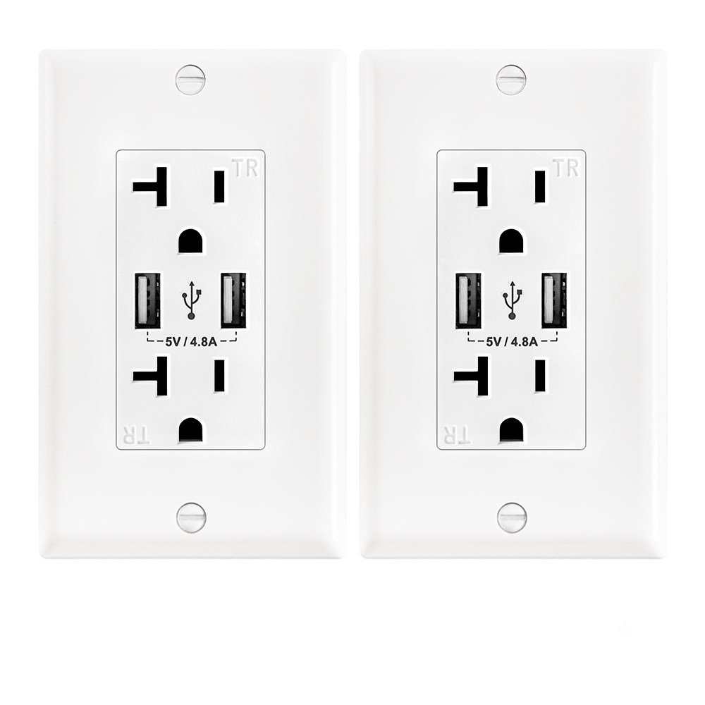 Wall Electrical Outlet with 5V/4.8A Dual High Speed USB Charger,20A Tamper-Resistant Receptacle Outlet White Color 2 Pack