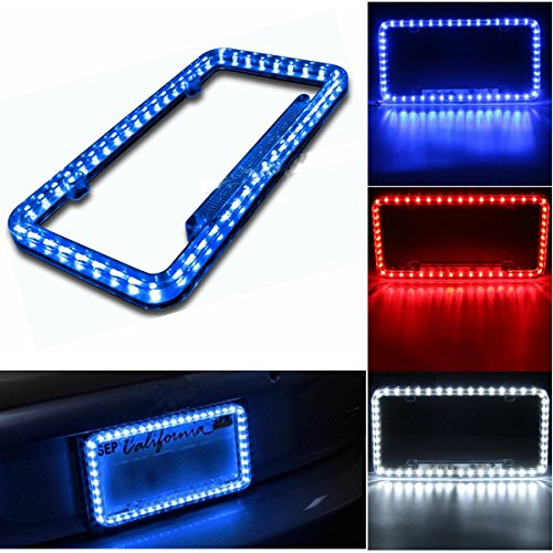 - Follicomfy 12 V 54 LED Color Light License Plate Frame Acrylic Plastic License Plate Cover-White