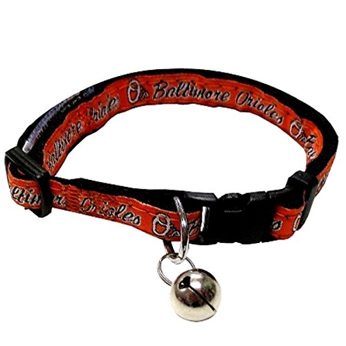 MLB CAT COLLAR. - BALTIMORE ORIOLES CAT COLLAR. - Strong & Adjustable BASEBALL Cat Collars with Metal Jingle Bell