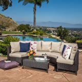 GDF Studio 239367 Venice Outdoor 5 PC Wicker Sofa Sectional Set, Mulitbrown