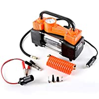 Heavy Duty Dual Cylinder Portable Air Compressor Pump:12V Electric Car Tire Inflator, 150 PSI Small Compressor Tanks & 3 Universal Nozzle Adapters for Automobiles, Bike Tires & Inflatables