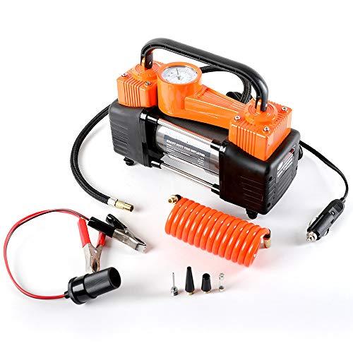 Heavy Duty Dual Cylinder Portable Air Compressor Pump:12V Electric Car Tire Inflator