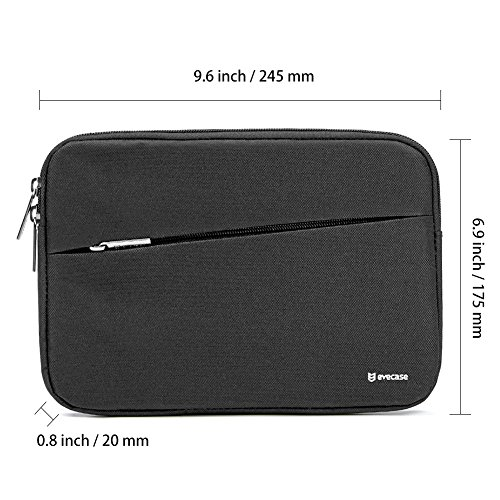 7.9-8.9 inch Tablet Sleeve, Evecase Water Repellent Shockproof Portable Carrying Sleeve Protective Case Bag with Accessory Pocket for Apple Samsung Huawei Asus and More - Black