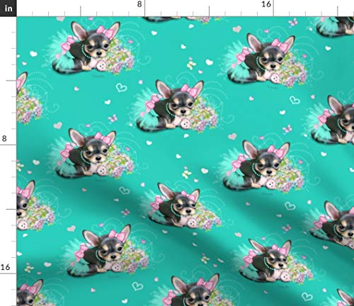 Chihuahua Fabric - Black Teacup Tiny Dog Black Dog Puppy Flowers Tutu Chihuahua Catia Cho by Catialee Printed on Linen Cotton Canvas Ultra Fabric by The Yard ()