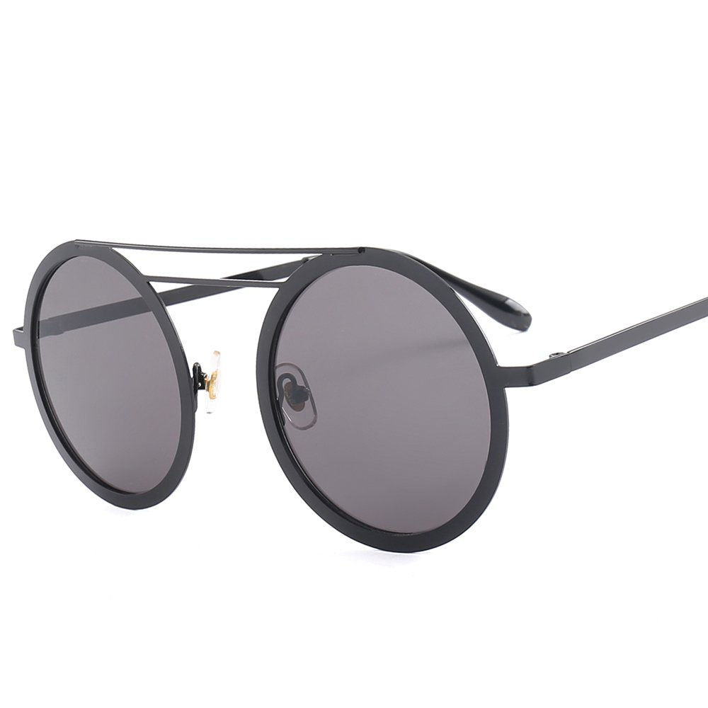 SUERTREE Summer Fashion Small Round Sunglasses Vintage Double Bridge Metal UV 400 Protect Shades for Travel 1227 (Black Frame, Gray)